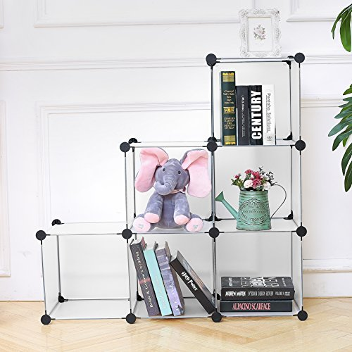 C&AHOME - DIY Bookcase Media Storage Standing Shelf Storage Cabinet Cube of 6, Semitransparent by C&AHOME (Image #5)