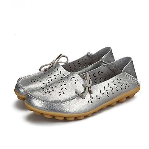Leather Loafers Flats YIRUIYA Slip H silver Women Shoes Casual On a5qAOW