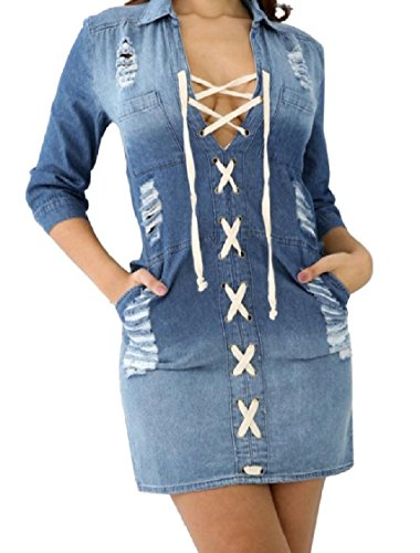 Sexy Long Fitting Blue Pencil Slim Denim Sleeve Strappy Dress Coolred Women Denim PIwqtt