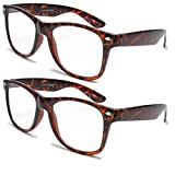 2 Pairs Deluxe Reading Glasses - Comfortable Stylish Simple Readers Rx Magnification (2 tortoise pair, 2.25 x)