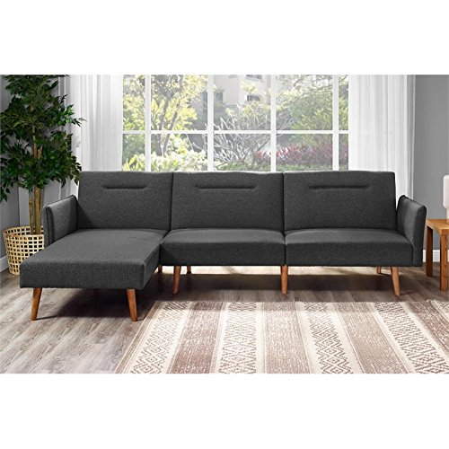 Sectional Sofa Futon Sleeper Bed Convertible Couch Chaise Bed