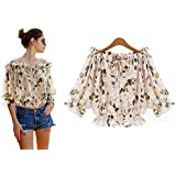 Fashion Printed Summer Off Shoulder Women Chiffon Blouse