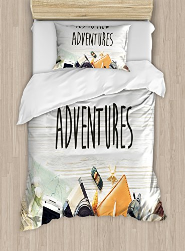 - Ambesonne Adventure Duvet Cover Set Twin Size, Say Yes To New Adventures Text Travel Preparations Theme Wanderlust Concept Retro, Decorative 2 Piece Bedding Set with 1 Pillow Sham, Multicolor
