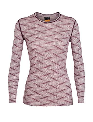Icebreaker Merino Women's 200 Oasis Long Sleeve Crewe Curve Base Layer Tops, Small, Blush Heather/Velvet