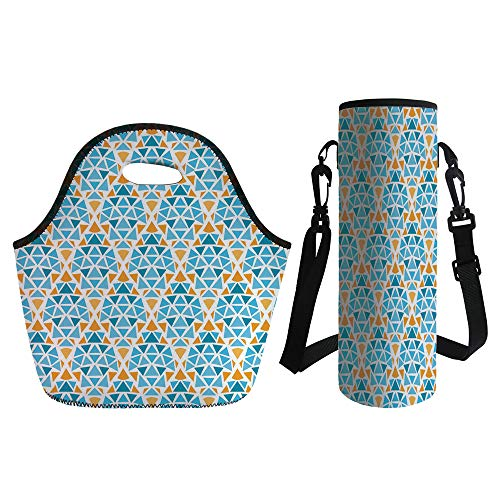 3D Print Neoprene lunch Bag with Kit Neoprene Bottle Cover,Yellow and Blue,Diamond Shaped Triangle Geometric Fractal Mosaic Traditional Motif,Aqua Teal Marigold,for Adults Kids