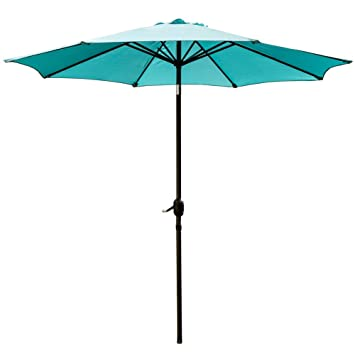SNAIL 9u0027 Patio Umbrella UV Protection Fade Resistant Outdoor Market Umbrella  With Push Button Tilt