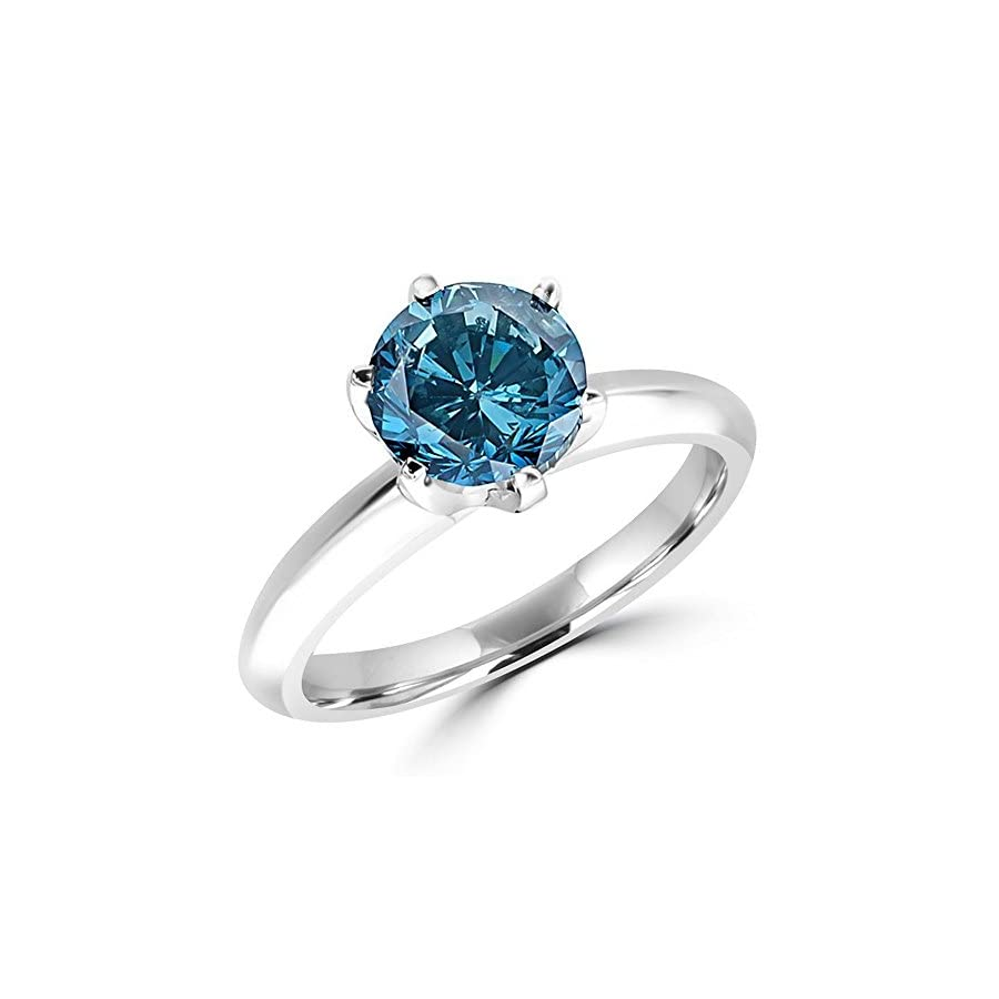 1/2 5 Carat Total Weight Round 14K White Gold blue Diamond Ring (AAA Quality)