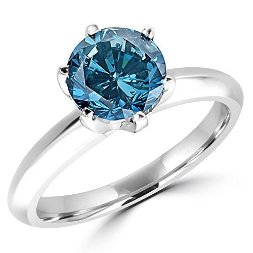 18k 18k Wg Ring - 1 Carat 18K White Gold Round Blue Diamond Solitaire Ring (AAA Quality)