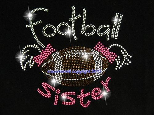 (Football Sister Rhinestone Iron on Hotfix Transfer Bling Diy- 9