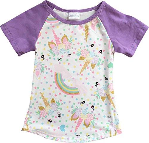 Little Girl Kids Unicorn Rainbow Flower Raglan Cotton Shirt Top Tee T-Shirt Lilac 6 XL (201344)