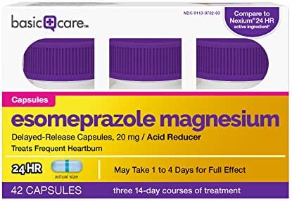 Amazon Basic Care Esomeprazole Magnesium Delayed-Release Capsules, 20 mg, 42 Count