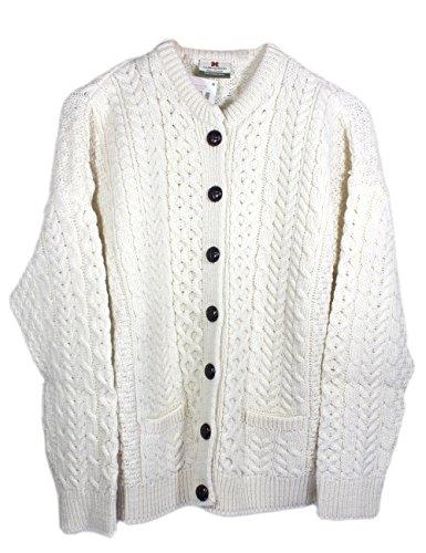 Ladies Cream Irish Aran Lumber Jacket with Pockets - ()