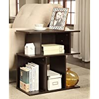 Cappuccino Finish Accent Side End Table Open Storage
