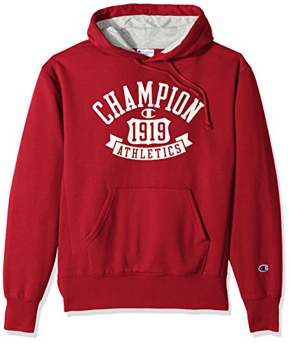 Champion Men's Heritage Fleece Pullover Hoodie, Fire Roasted Red/Shield Arch, Medium