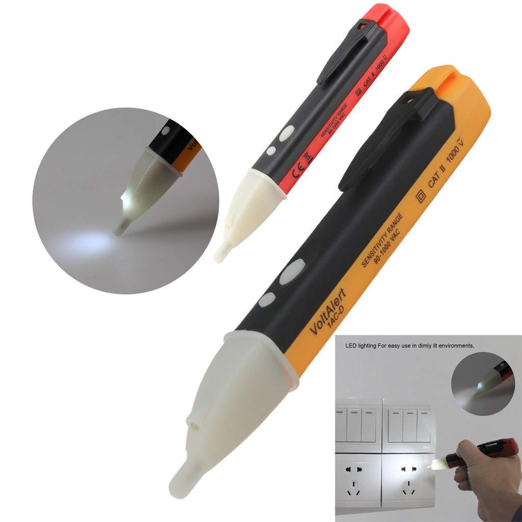 CapsA Wireless Circuit Testers Double Button Electricity Detector Test Pencil Test Pencil Inductive LED Light AC Electric Voltage Tester Volt Alert (Red)