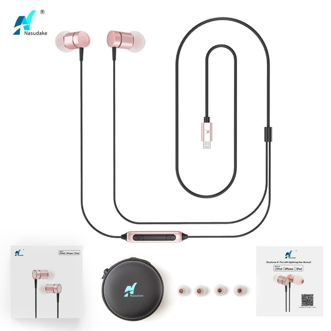 NASUDAKE MFi A1 Plus iPhone Earbuds, Stereo Lightning Headphones w/Noise Cancelling Siri Active Feature Lightning In-Ear Wired Earphone w/Mic & Remote for iPhone X, 8/8 Plus (Rose Gold) by Nasudake (Image #6)