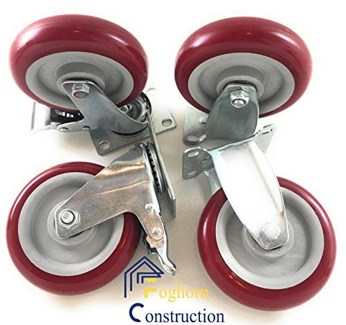 5 inch (Set of 4) with 2 Swivel/Brake Casters and 2 fixed Casters - Poly tread, sealed industrial bearing wheels - Foghorn Construction
