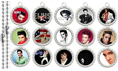 15 Elvis Presley Silver Bottle Cap Pendant Necklaces Set 1 -