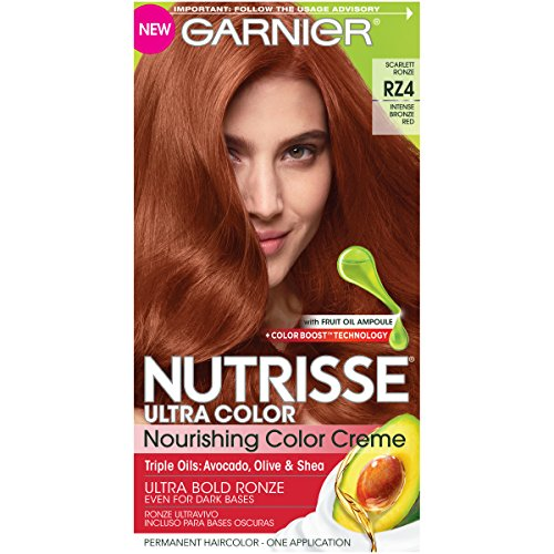 Scarlet Hair Color - Garnier Nutrisse Ultra Color Nourishing Hair Color Creme, RZ4 Intense Bronze Red, Scarlet Ronze (Packaging May Vary)