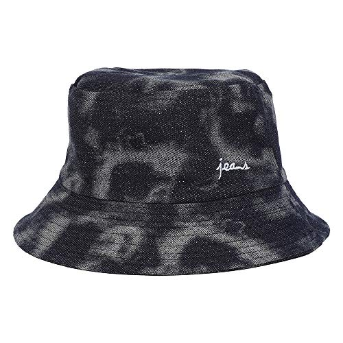 Calboom Mens Womens Fashion Hat UV Sun Bucket Golf Cap Fisherman Hat Pigment Dyed Bucket Hat Jeans Hat (Black Grey)