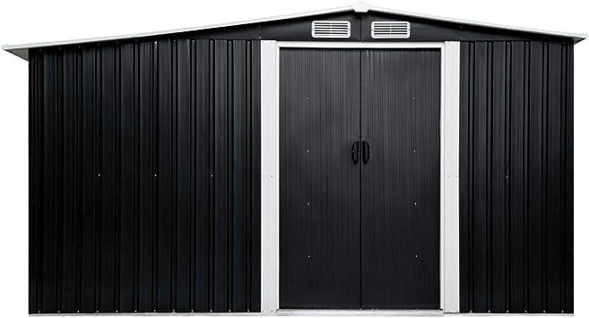UnfadeMemory Caseta de Jardín Exterior con Puertas Correderas,Cobertizo de Almacenaje,Acero Galvanizado (Gris Antracita, 329,5x312x178cm): Amazon.es: Hogar