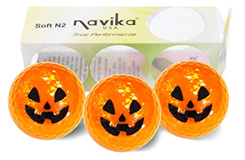 Halloween Pumpkin Metallic Golf Balls by Navika