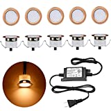 LED Deck Lights Kit, Low Voltage 10 pcs Waterproof IP65 Φ1.22 Recessed Deck Lamp Warm White LED in-Ground Lighting Outdoor Garden Yard Pathway Patio Step Stairs Landscape Decor Lamps, Red Bronze