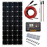 ECO-WORTHY 100W Mono Solar System: 100W Solar Panel + 20A Solar Controller & 16ft Cable For Sale