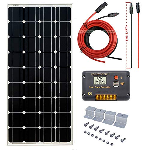 100w Kit - ECO-WORTHY 100W 12V Off Grid Mono Solar System: 100W Solar Panel + 20A Solar Controller & 16ft Cable for RV Boat Caravan Garden