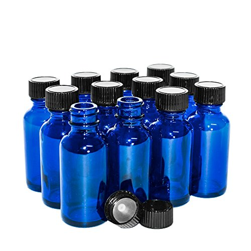 (12 Pack) 1 oz. Cobalt Blue Boston Round with Black Cone ()