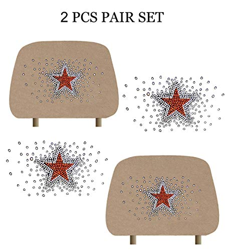 - KAAA ALLBrand Car Truck Crystal Bling Rhinestone Studded Seat Headrest Covers - Pair (Mono Star/Beige)