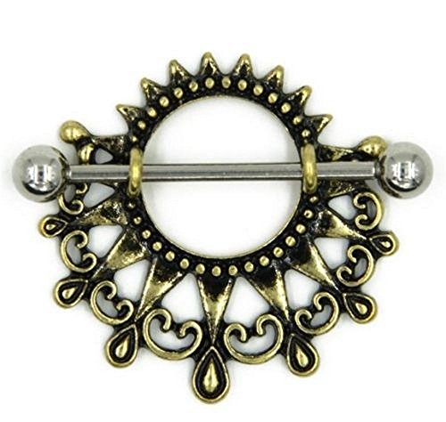 ) Tribal SUN Nipple shield 14G Piercing Stainless Steel (Tribal Sun Nipple Shield)