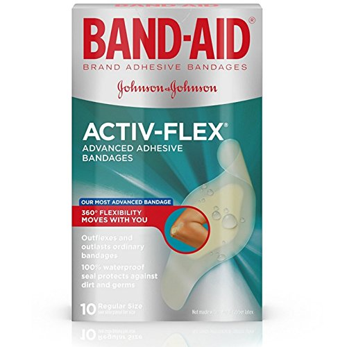 Band-aid Brand Adhesive Bandages Activ-Flex Regular, 10 Count Box (Pack of 4)