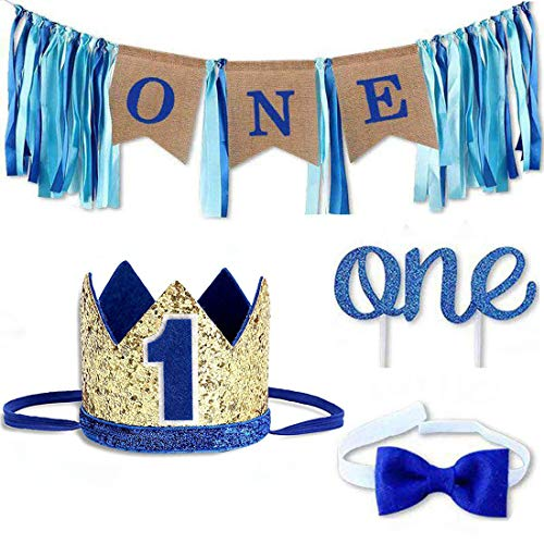 Baby 1st Birthday Boy Decorations with Crown High Chair Banner Cake Smash Party Supplies - Happy Birthday ONE Burlap Banner, No.1 Crown, Glitter Cake Topper (Smash Cake For 1 Year Old Boy)