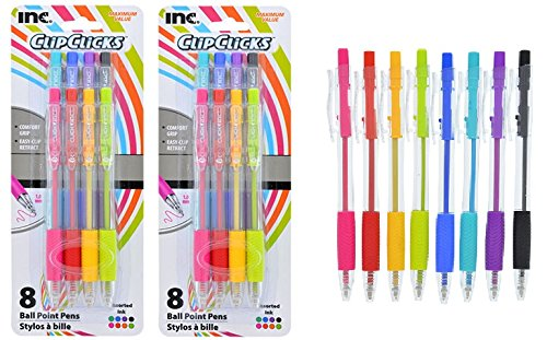 - 2-pack Clipclicks 8 ballpoint pens assorted ink colors - 16 pens total