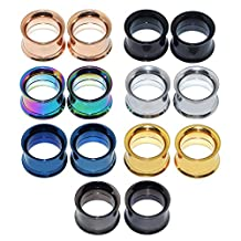 D&M Jewelry 14pcs Stainless Steel Screw Tunnels Plugs Ear Expander Multi-Colors Body Piercing
