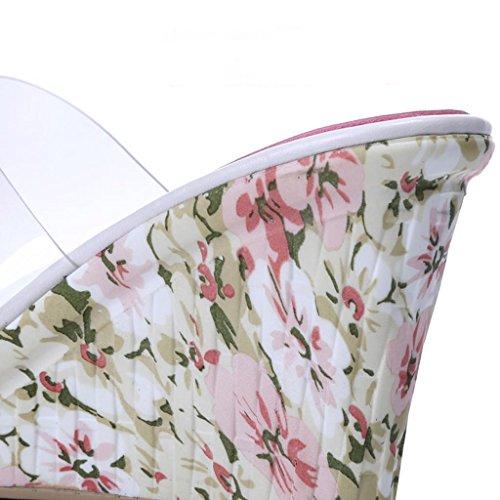 Plage Talon Sandales Femmes Pink LLP Super Plein des Flip de Haut Pente en Fleurs Flop air Avec épaisses qnwvng
