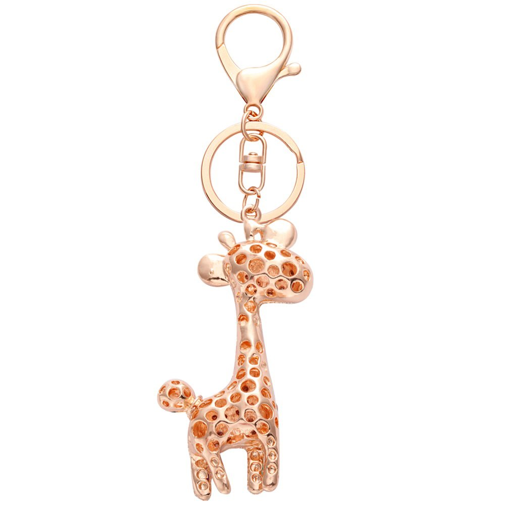NOUMANDA Cute Animal Giraffe Crystal Keychain Bag Charm Keyring (gold)