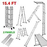 Finether 15.4ft Extension Ladder|Aluminum Ladder| Multi-Purpose Folding Ladder with Safety Locking Hinges and 2 Panels,EN131 Certified, 330 Lb Capacity