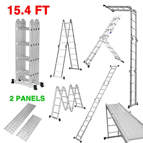 Finether 15.4ft Heavy Duty Multi Purpose Aluminum Folding Extension Ladder with Safety Locking Hinges and 2 Panels 330lb Capacity (New Non-slip Mat and Wheels for Free) by Finether