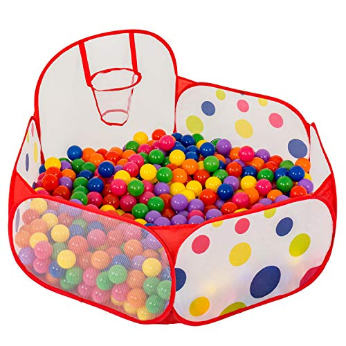 FoxPlay Basketball Ball Pit - Toddler Ball Pit Tent - Sensory Ball Pit with Basketball Hoop and Zippered Storage Bag - 4ft/120cm - Balls Not Included -