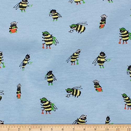 Telio Organic Stretch Cotton Jersey Busy Bee Fabric, Baby Blue, Fabric By The Yard