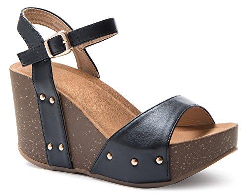 OLIVIA K Women's Open Toe Strappy Mid Wedge Light Heel Wood Decoration Buckle Shoes ()
