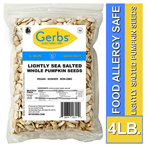 Gerbs Lightly Sea Salted Whole Pumpkin Seeds, 4 LBS. - Top 14 Food Allergy Free & Non GMO - Vegan, Keto Safe & Kosher - Pepitas grown in USA