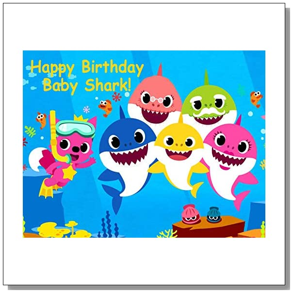 Baby Shark Doo Personalized Edible Cake Image Birthday Party NIP