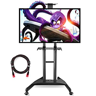 Suptek Universal Mobile TV Cart TV Stand with Mount for Flat LCD LED Plasma Screens and Displays 32 to 60'' Up to 100lbs Black, 1 Middle Shelf, 1 Top Shelf, 8.8' Twisted Veins HDMI Cable ML5075