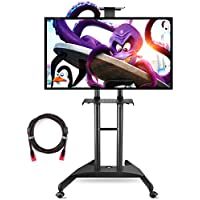 Suptek Universal Mobile TV Cart TV Stand with Mount for Flat LCD LED Plasma Screens and Displays 32 to 60 Up to 100lbs Black, 1 Middle Shelf, 1 Top Shelf, 8.8 Twisted Veins HDMI Cable ML5075