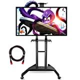 Suptek Universal Mobile TV Cart Stand with Mount for LCD LED Plasma Screens and Displays 32 to 70'' Up to 100lbs, 1 Middle Shelf, 1 Top Shelf, 8.8' Twisted Veins HDMI Cable ML5075