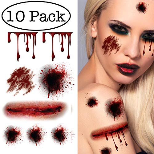 10 Sheets Halloween Temporary Tattoos Bloody Wound Scars Scab Spiders Pumpkin Waterproof Stickers for Cosplay -