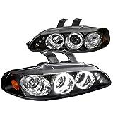 1995 honda civic ex headlights - Spec-D Tuning 2LHP-CV923JM-TM Honda Civic 3Dr Dual Halo Led Black Projector Head Lights